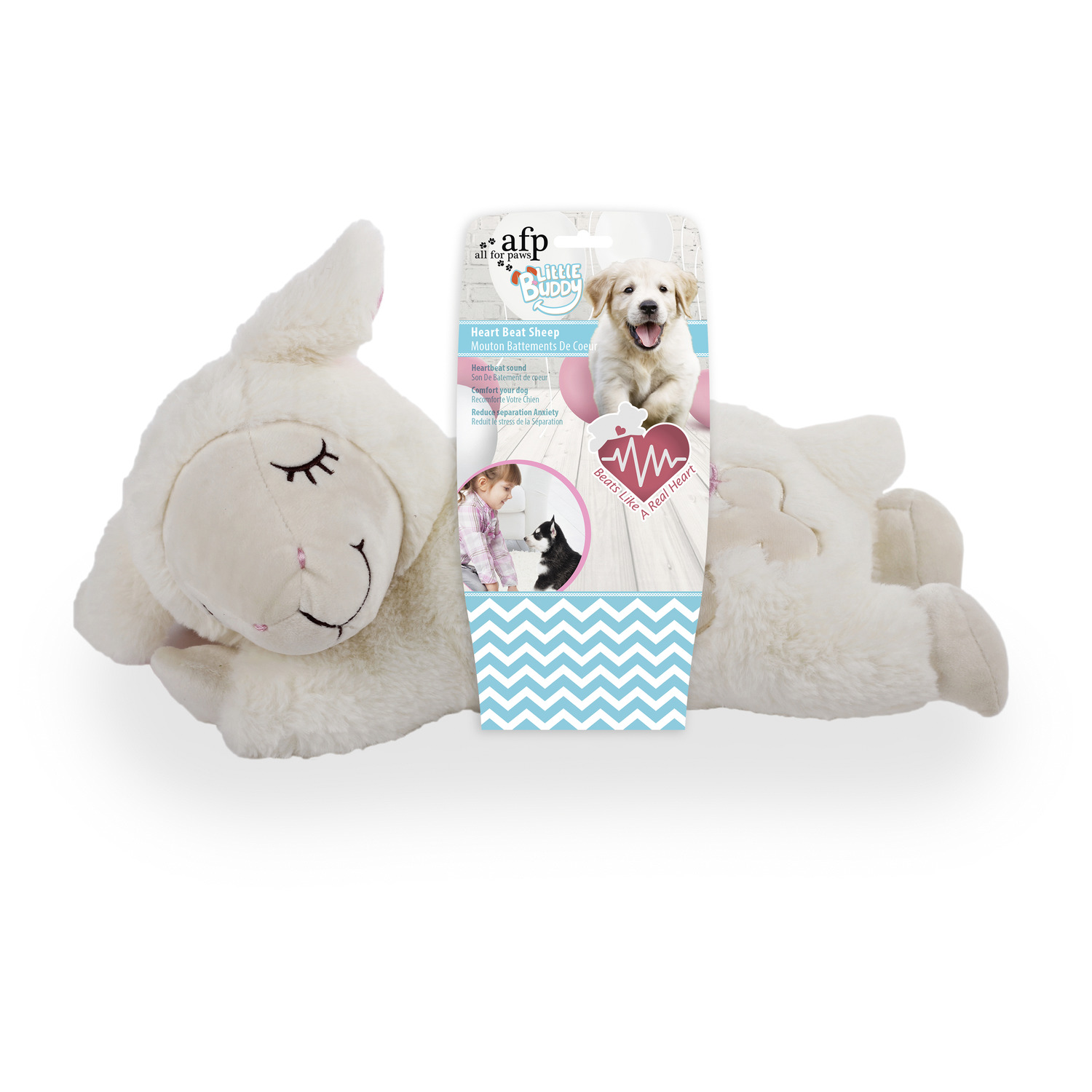 All-For-Paws-Little-Buddy-Heart-Beat-Sheep-Hondenspeelgoed-44x38x14-cm-Wit