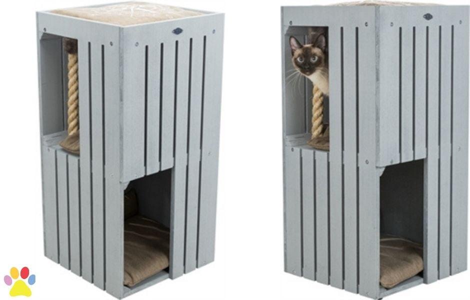 Trixie-Be-Nordic-Cat-Tower-Juna-Grijs-38x38x77CM
