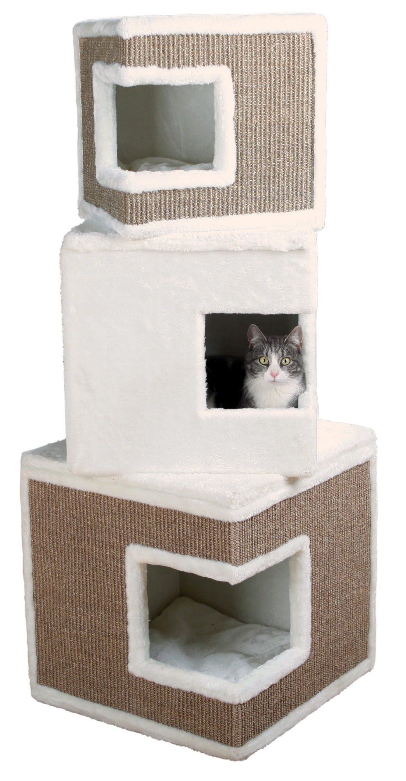 Trixie-Krabpaal-Katten-Kubus-Toren-Lilo-Wit-Bruin